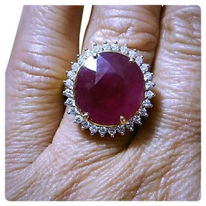 BIG ESTATE 10.08CT NATURAL RUBY&DIAMOND 14K GOLD RING
