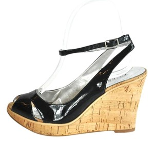 Guess Patent Leather Peep Toe 6m Black Wedges