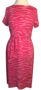 Escada Silk Short Sleeve Dark Pink. Print. Dress