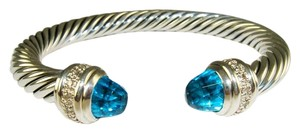 David Yurman $1900 DAVID YURMAN 7MM DIAMOND BLUE TOPAZ CABLE BRACELET