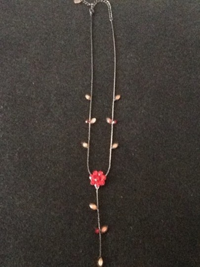 Claire's Red And Black Flower Necklace