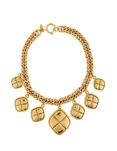 Chanel Chanel Gold Quilted Charm Choker Necklace