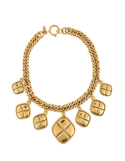 Chanel Chanel Gold Quilted Charm Choker Necklace Image 0