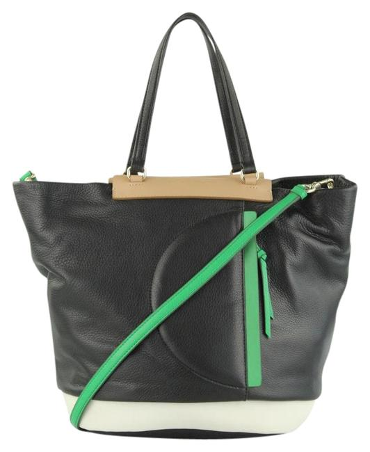 Item - Girl Round The Way Black. White Green Tan Leather Shoulder Bag