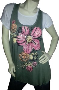 Live to Be Spoied 2 Piece Xl Length T Shirt Green, pink, white floral