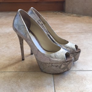 B Brian Atwood Stiletto Pumps Natural snake Platforms