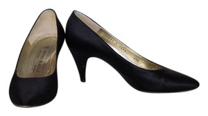 Bruno Magli Classic Elegant Black Satin Pumps