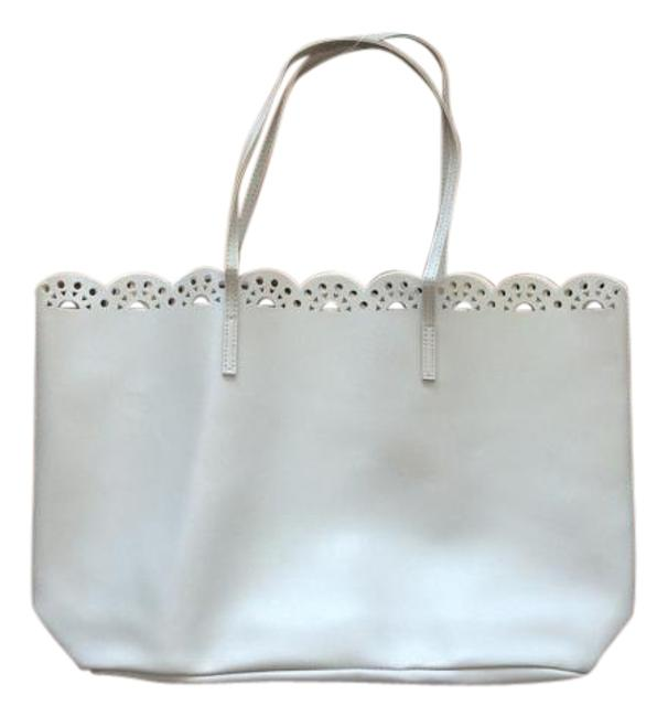 Item - Bag New with Tags Fragrance Scalloped Edge Laser Cut Beige Tote