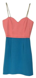 Naven short dress Peach & Teal w/ Gold straps on Tradesy