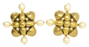 Chanel Chanel Bronze & Pearl Cluster Clip On Earrings