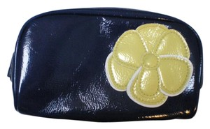 bareMinerals BareMinerals Bare Escentuals Blue with yellow Patent zipper close Makeup Bag Brand New