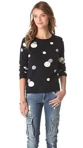 Chinti and Parker Intarsia Polka Dot Cashmere Long Sleeve Sweater