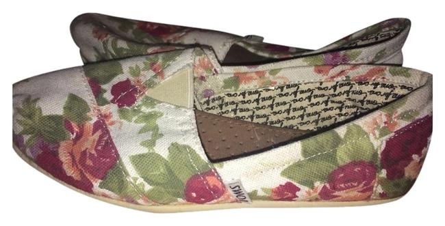 Item - Cream / Green / Peach / Wine Floral Flats Size US 6 (C, D)