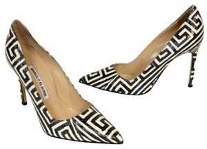 Manolo Blahnik Snake Leather Lambskin Heel Multi Color Pumps