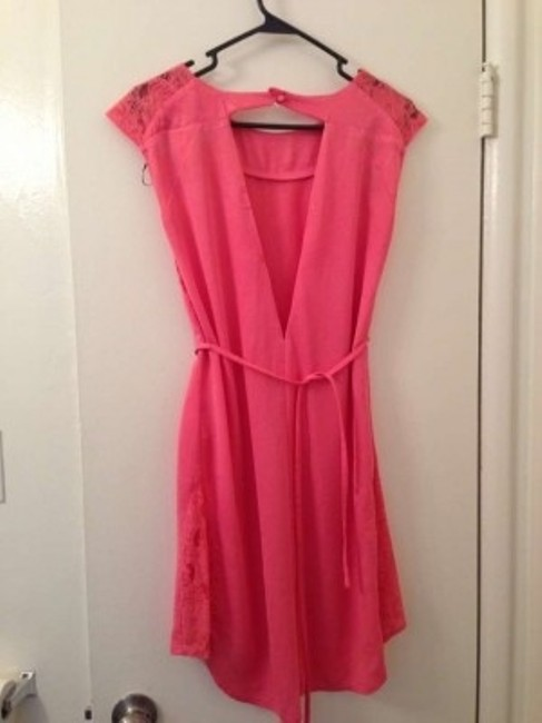H&M short dress Coral Mini-dress Pink Salmon Lace Semi-formal Work Party Cute Fun on Tradesy