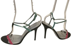 Jessica Simpson T And Ankle Straps Multi color embossed leather Sandals