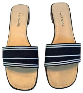 Laura Ashley Flat Preppy Ribbon Nautical Navy and White Sandals
