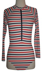 J.Crew J.CREW LONG TORSO LONG-SLEEVE ONE-PIECE SWIMSUIT IN MULTISTRI SIZE 2