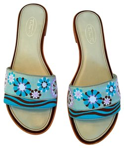 Talbots Flat Preppy Ribbon Slide Aqua/Purple/White/Brown Sandals