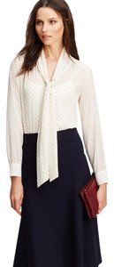 Ann Taylor Tie Neck Long Sleeve Office Top White