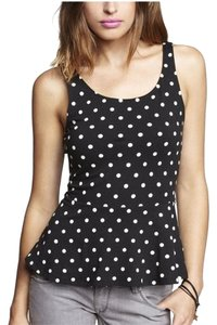 Express Polka Dot Peplum And White Sleeveless Top Black