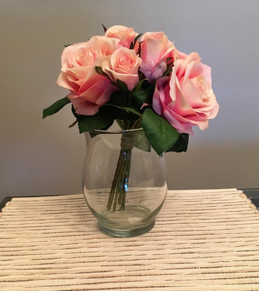 Blush Pink Flowers Set Of 25 Silk Rose Bouquet And Clear Vase