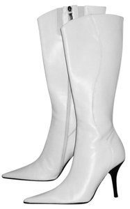 Donald J. Pliner Pointy Toe Vintage Stiletto WHITE Boots