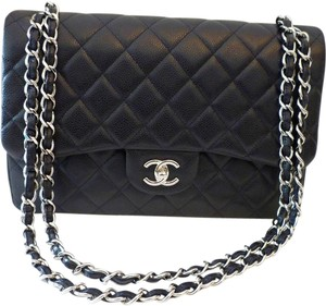bbcf37a7d77224 Chanel Caviar Leather Silver Hardware Quilted Double Flap Classic Shoulder  Bag