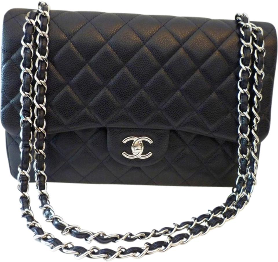 82c11460748a06 Chanel Caviar Leather Silver Hardware Quilted Double Flap Classic Shoulder  Bag Image 0 ...