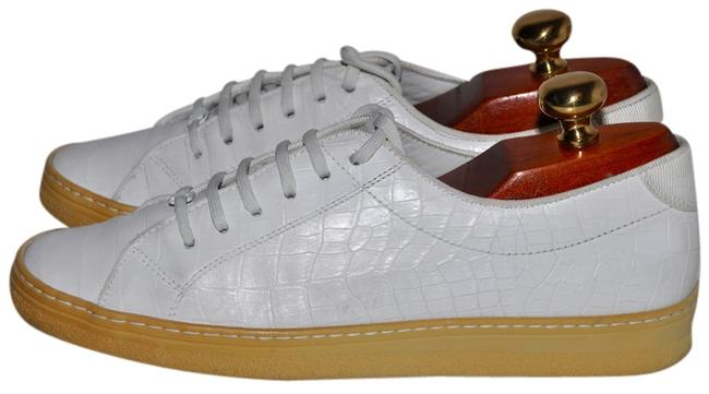 Item - White Croc Pattern Leather Sneakers Size US 6.5 Regular (M, B)
