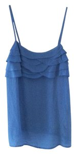 Forever 21 Tank Silk Strappy Ruffle Top BLUE