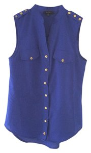 Only Mine Hardware Sleeveless Tank Button Down Shirt BLUE GOLD