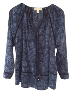 MICHAEL Michael Kors Paisley Denim Top BLUE PRINT