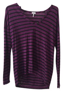 Splendid Striped Cotton Summer Top Purple