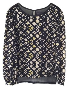 PJK Patterson J. Kincaid Print Sheer Top BLACK LIME WHITE