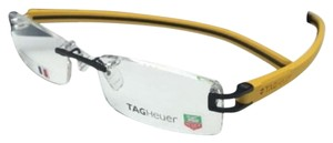 TAG Heuer New TAG HEUER Eyeglasses REFLEX TH 7642 012 53-18 Black & Yellow Frames w/ Clear Lenses