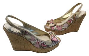 Coach Floral Pattern Multi color fabric Wedges