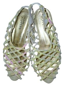 Positively Peppers Luminous Opalescent Dress Flat Wedge Sparkle ivory Sandals