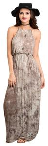 Brown Tye Dye Maxi Dress by Other Tank Summer Bodycon Sleeveless Maxi