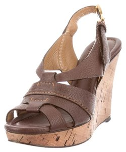 Chloé Leather Cork Spring Summer Brown/Cork Wedges