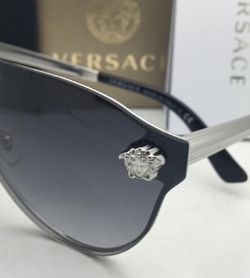 a74efea5aac2a Versace New VERSACE Sunglasses VE 2161 1000 8G Silver   Black Frame w Grey.  1234567