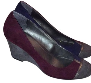 Liz Claiborne Grey, Royal Blue, burgundy Wedges