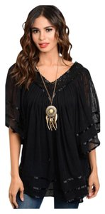 Summer Junior Women Boho Top Black