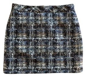 J.Crew Tweed Mini Mini Skirt Blue/Black Tweed