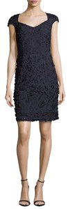 Theia Sheath Textured Keyhole Party Dress