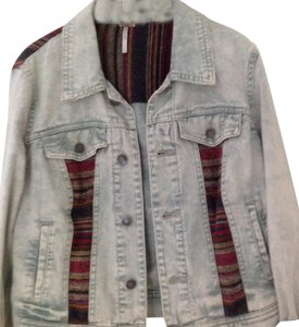 Free People Faded denim with embroidery Womens Jean Jacket