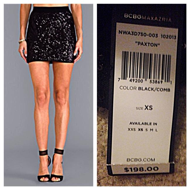 BCBGMAXAZRIA Mini Sequin Party Bodycon Skirt Black