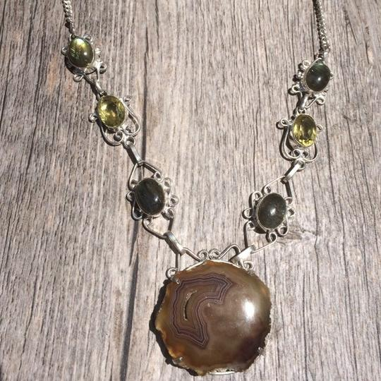 Preload https://img-static.tradesy.com/item/1556757/green-and-yellow-handmade-labradorite-citrine-moss-agate-sterling-silver-necklace-0-0-540-540.jpg