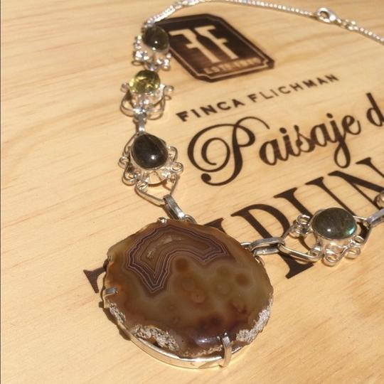 Other Handmade Labradorite, Citrine, Moss Agate & Sterling Silver Necklace