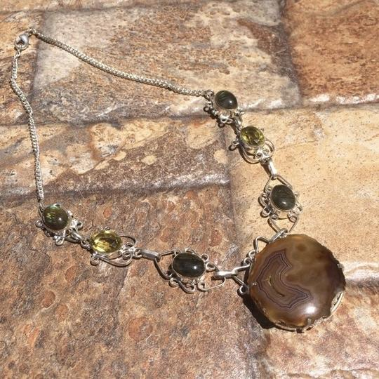 Other Handmade Labradorite, Citrine, Moss Agate & Sterling Silver Necklace Image 2